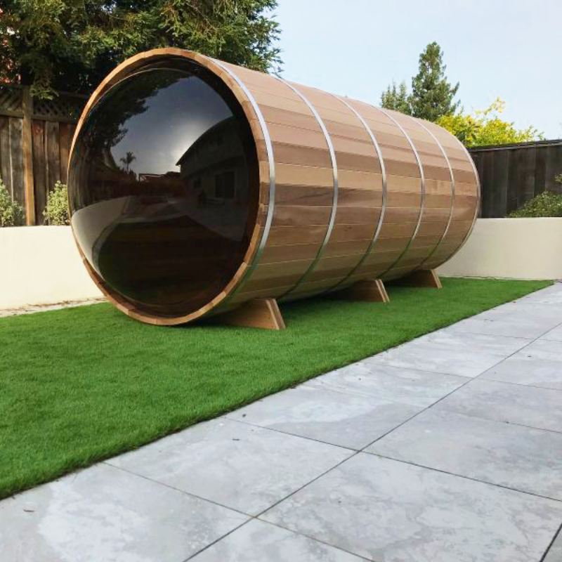 Outdoor Red Cedar Panoramic View Barrel Sauna