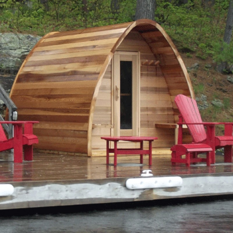 Outdoor Sauna Package Deals - Knotty Red Cedar POD Sauna